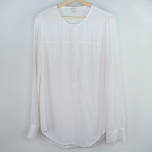 J Crew BLOUSE Covered Button CREPE Long Sleeve Med